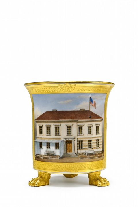 Tasse mit Ansicht eines amerikanischen Hauses -