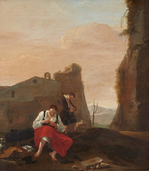 Thomas Wijck - A Shepherd Couple at Rest
