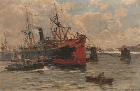 Friedrich Kallmorgen - Südamerikanischer Dampfer im Hamburger Hafen