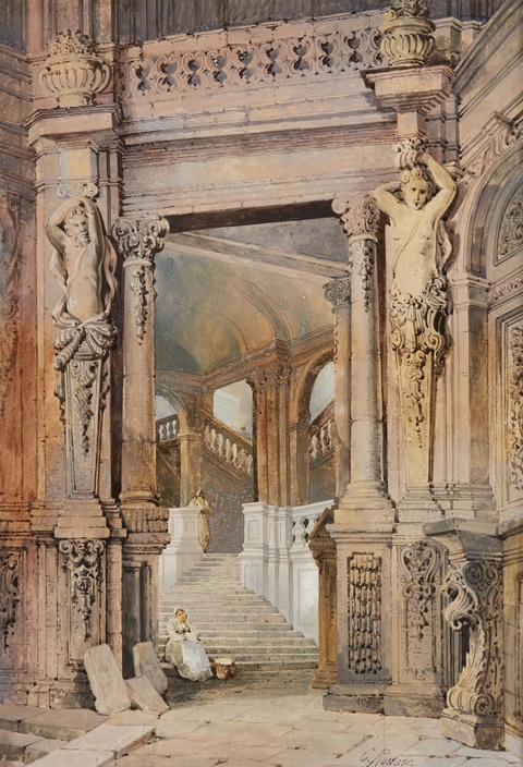 Charles Rousse - The Staircase in the Wallpavillon of the Zwinger in Dresden