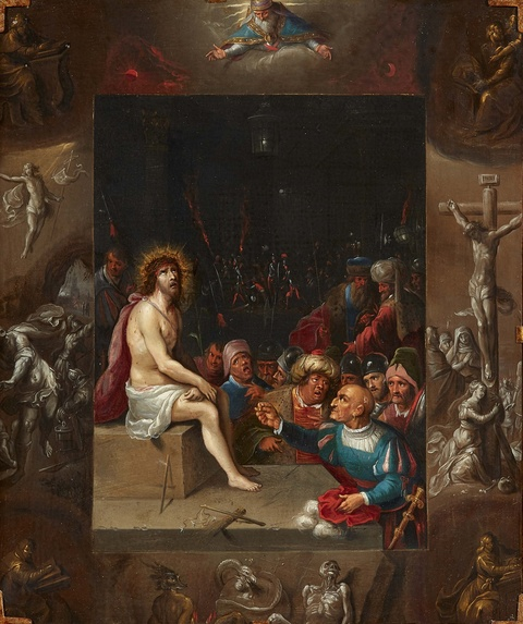 Frans Francken the Younger, attributed to - The Mocking of Christ surrounded by Scenes from the Passion en Grisaille