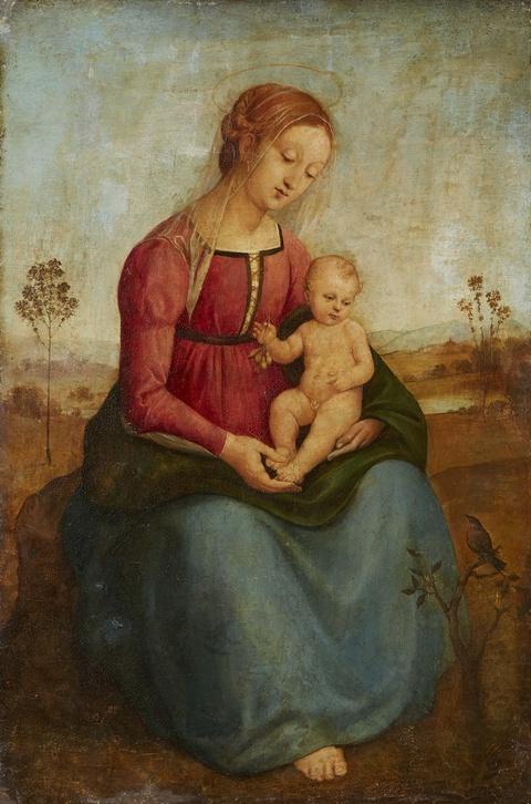 Italienischer Meister wohl frühes 16. Jahrhundert - Madonna mit Kind in einer Landschaft