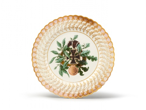 Dessertteller aus dem Feldherren-Service für Prinz Ludwig von Hessen-Homburg -