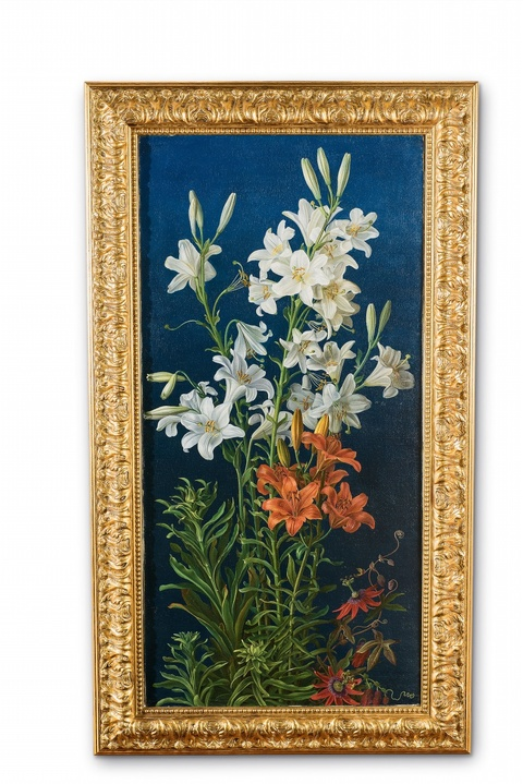 Gottfried Wilhelm Völcker - White Lilies and Fire Lilies surrounded by Passion Flowers