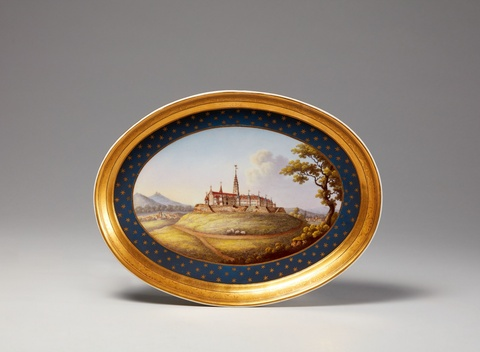 A Berlin KPM porcelain tray with a view of Jasna Góra monastery -