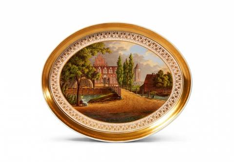 Tablett mit Ansicht des Klosters Chorin -