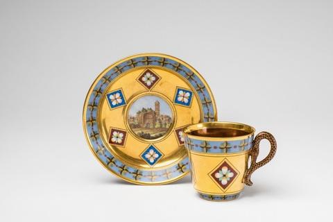 Tasse mit Ruinenlandschaft in Mikromosaikmalerei -