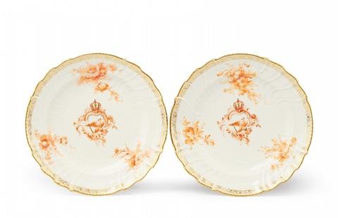 Paar Teller aus dem Neu-Osier-Tafelservice für Kaiser Wilhelm II. -