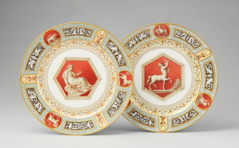 A pair of St. Petersburg porcelain dinner plates from the Raphael service -