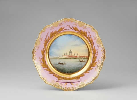 A St. Petersburg porcelain plate with Smolny Cathedral -