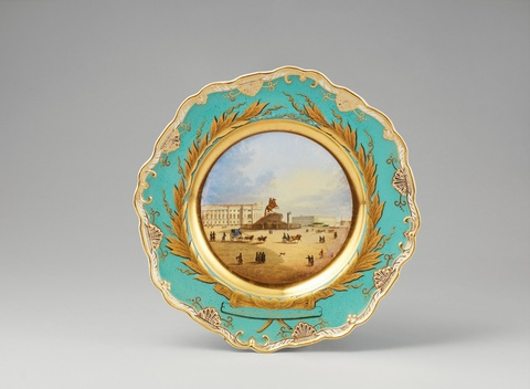 A St. Petersburg porcelain plate with the Bronze Horseman -