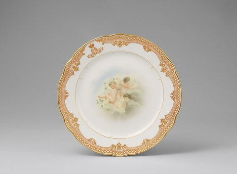 A St. Petersburg porcelain plate with amoretti from the dinner service for Alexander Alexandrovich -