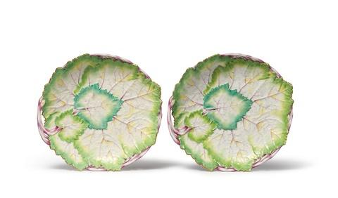 Paar Blattschalen aus einem königlichen Tafelservice -