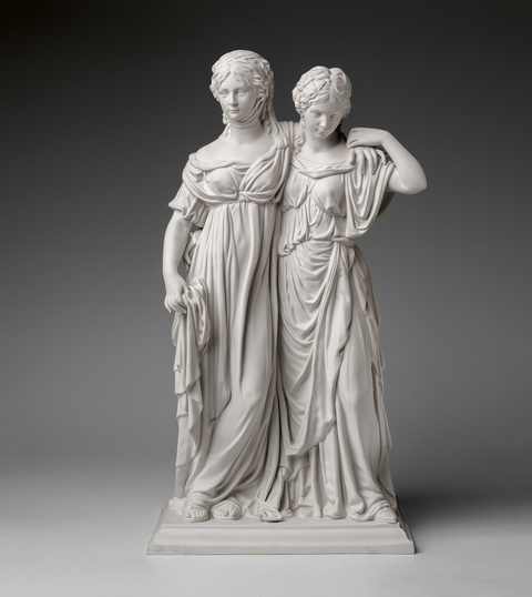 A Berlin KPM biscuit porcelain group with the Crown Princesses -