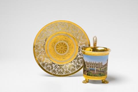 Tasse mit seltener Ansicht der Gartenseite des Palais des Prinzen Albrecht -