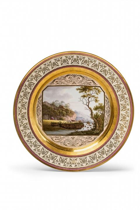 Große Platte mit Landschaftsdekor -