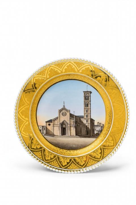 Teller mit italienischer Kirchenansicht aus dem Hochzeitsservice für Prinzessin Charlotte -