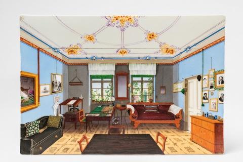 Porzellanbild mit Ansicht eines Berliner oder Potsdamer Zimmers -