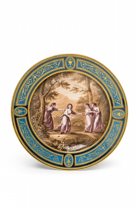 A Vienna porcelain plate with a game of blind man's buff -