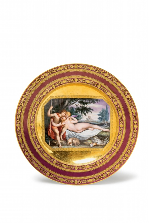 A Vienna porcelain plate with Venus and Adonis -