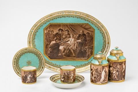 A Vienna porcelain déjeuner with classical scenes in sepia camaieu -