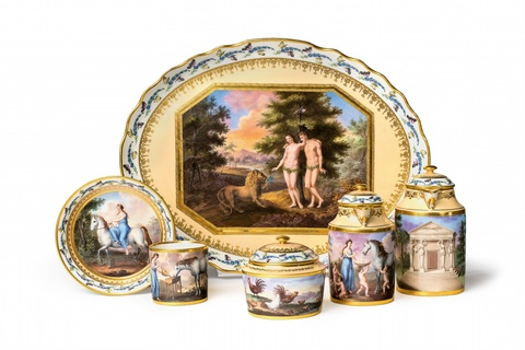 A Vienna porcelain solitaire with allegorical motifs -