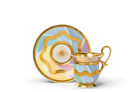 A Vienna porcelain cup and saucer with striped decor -