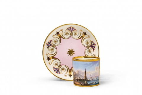A Vienna porcelain cup and saucer with a view of Naples -