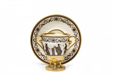 A Vienna porcelain centrepiece with a figural frieze -