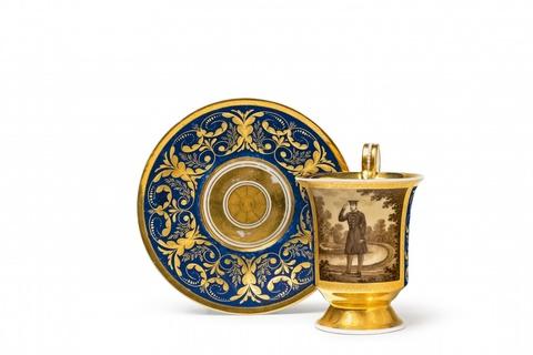 Tasse mit Porträt Friedrich Wilhelms III. vor der Luiseninsel -