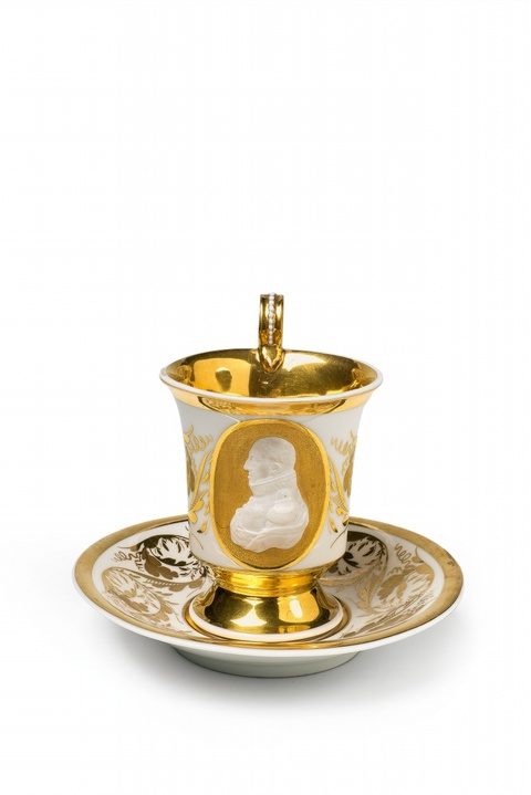 A rare cup and saucer with a bust of the Duke of Anhalt-Bernburg -