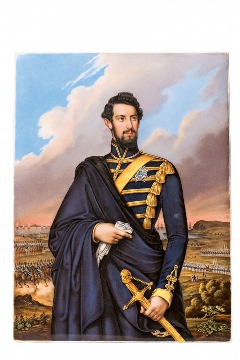 Porzellanbild mit Karl XV. von Schweden -