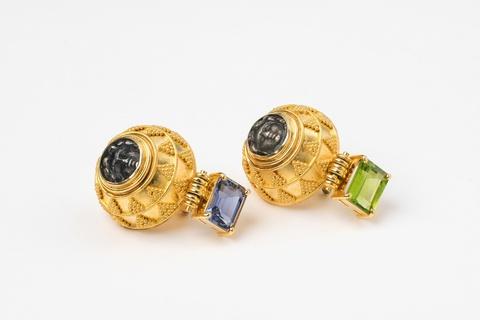 Paar Ohrringe mit Granulation -
