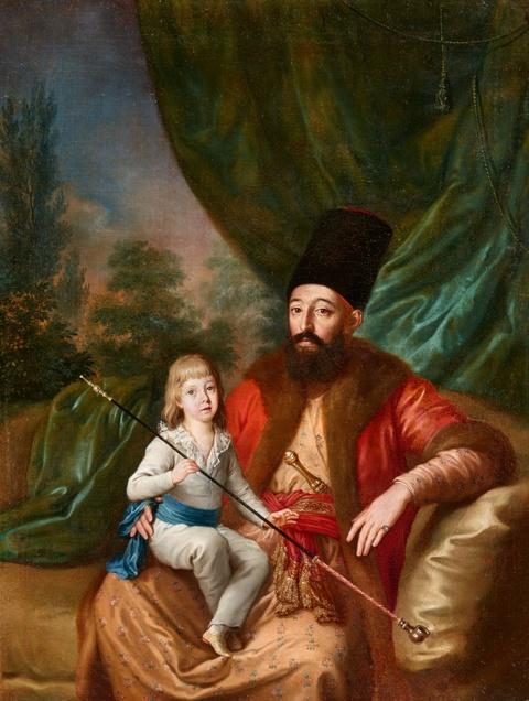 Französischer Meister des 18. Jahrhunderts - Porträt eines Herren in osmanischer Kleidung und einem Kind im Arm