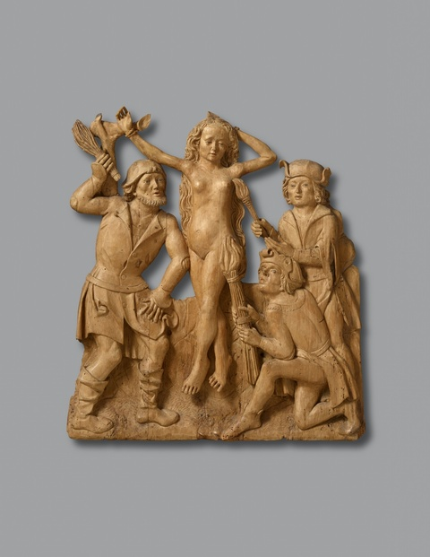 Swabia circa 1490 - A Swabian carved limewood relief of Saint Afra, circa 1490