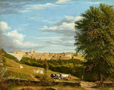 Deutscher Künstler Mitte 19. Jahrhundert - Zwei Römische Ansichten: Castelli Romani mit eleganten Figuren und Ariccia-Brücke mit der Villa Chigi im Hintergrund
