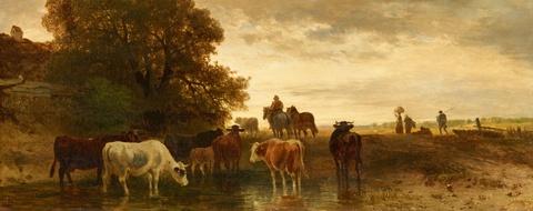 Johann Friedrich Voltz - Landschaft mit Bauern und Vieh