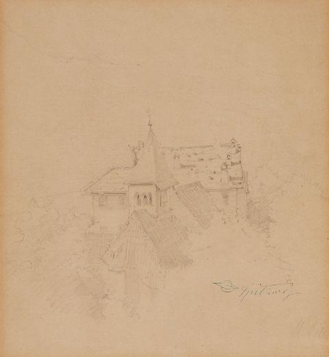 Carl Spitzweg - Blick auf eine Kirche