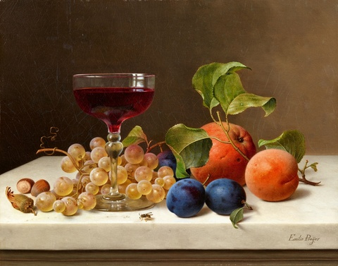Emilie Preyer - Still Life with Fruit, Nuts, and a Glass of Wine