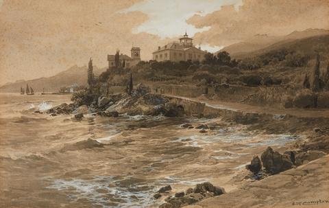 Edward Theodore Compton - Küstenansicht mit einer Villa