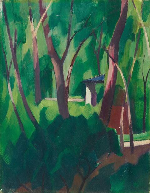 Adolf Erbslöh - Parklandschaft mit Bäumen und Häuschen