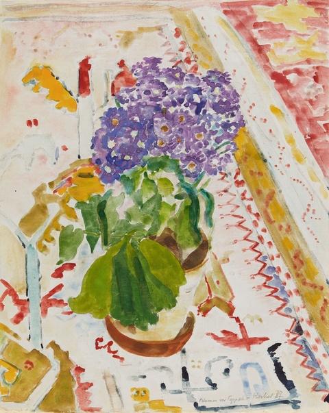 Erich Heckel - Blumen vor Teppich