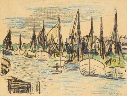 Hermann Max Pechstein - Fischerboote im Hafen