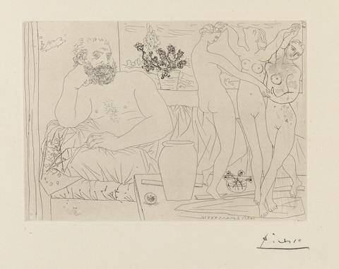 Pablo Picasso - Sculpteur avec un groupe sculpté (Hommage à Carpeaux)