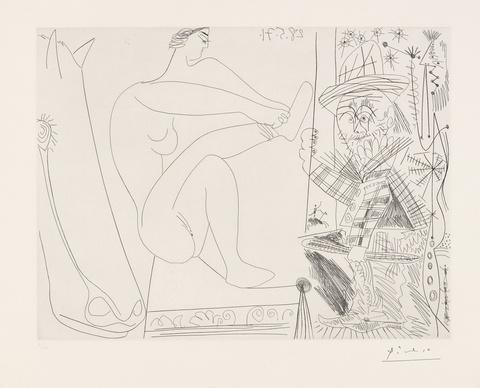 Pablo Picasso - Au Cirque. Écuyère se chaussant dans les coulisses et clown au trapèze