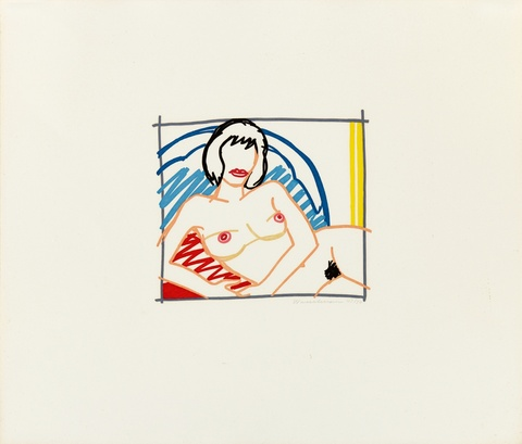 Tom Wesselmann - Monica nude with yellow curtain