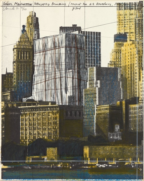 Christo - Lower Manhattan Wrapped Building, Project for 2 Broadway, New York