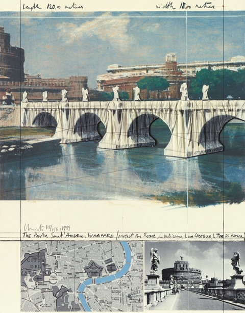 Christo - The Ponte Sant'Angelo, Wrapped, Project for Rome