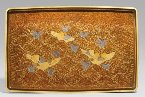 Großes Tablett für Kimono. Holz und Lack. 19. Jh. oder wenig später -