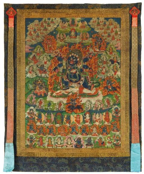 A Tibetan thangka of the six-armed Mahakala. 18th/19th century -